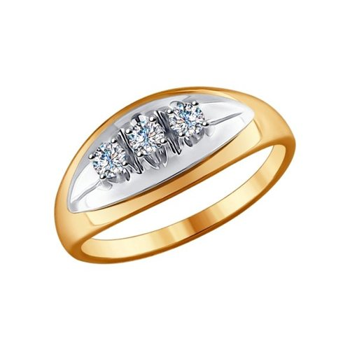 Кольцо из комбинированного золота с бриллиантами (1011521) - фото