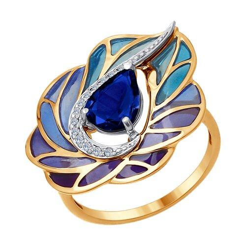 Кольцо из комбинированного золота с эмалью с бриллиантами и сапфиром (6019008) - фото