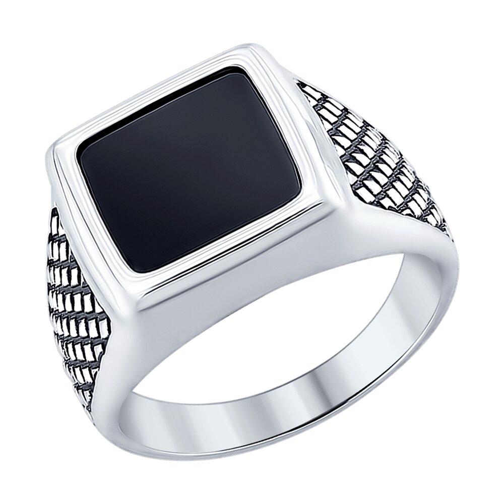 Кольцо SOKOLOV из чернёного серебра с ониксом кольцо с хризопразами из чернёного серебра