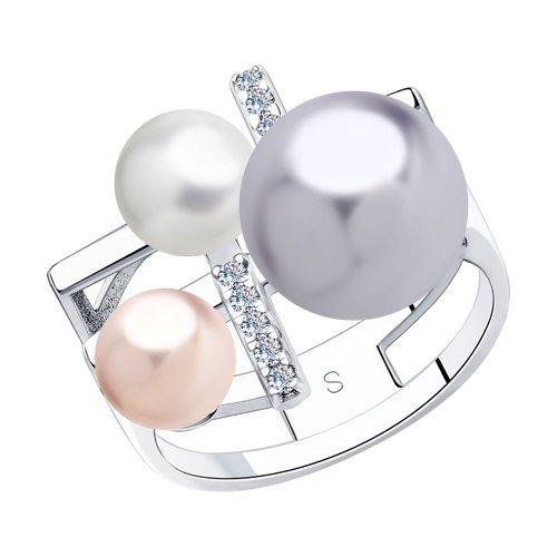 Кольцо из серебра с белым, розовым и сиреневым жемчугом Swarovski и фианитами