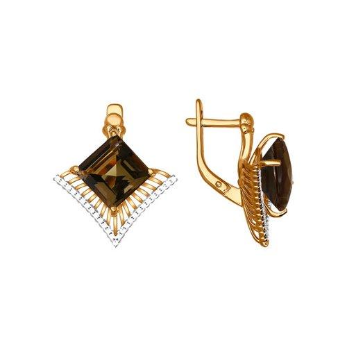 Серьги SOKOLOV из красного золота с коричневым камнем бронницкий ювелир серьги из красного золота ф7157 2 4736