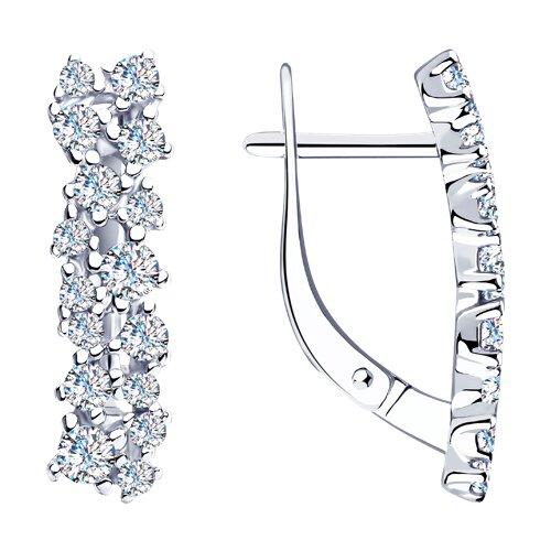 Серьги из серебра с фианитами (94023530) - фото