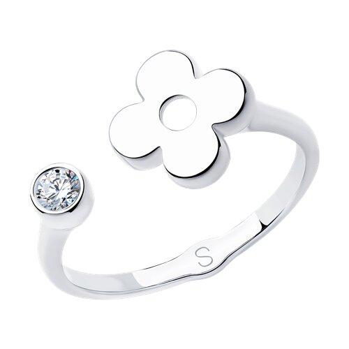 Кольцо из серебра с фианитом (94012943) - фото