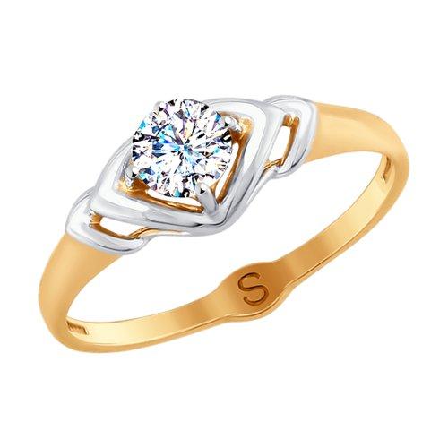 Кольцо из золота с фианитом (017911) - фото