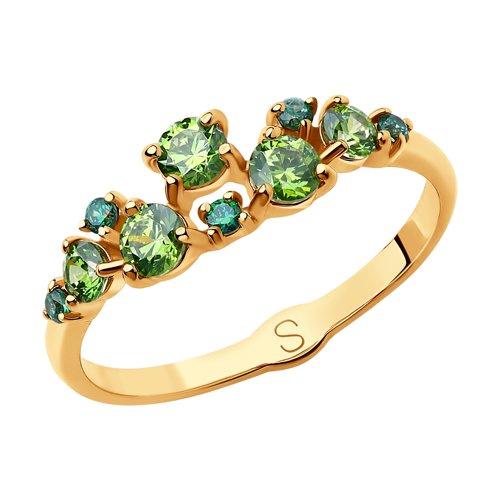 Кольцо из золота со Swarovski Zirconia и фианитами (81010399) - фото
