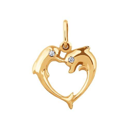 Фото - Подвеска love SOKOLOV из золота c фианитами «Два дельфина» подвеска змея из золота c черными фианитами