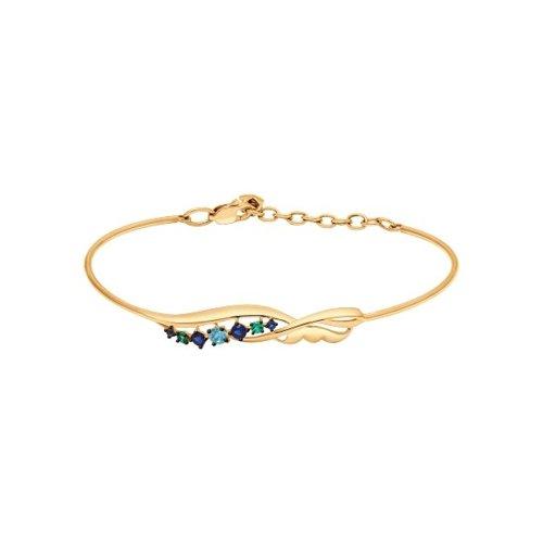 Браслет из золота с зелёными и синими фианитами