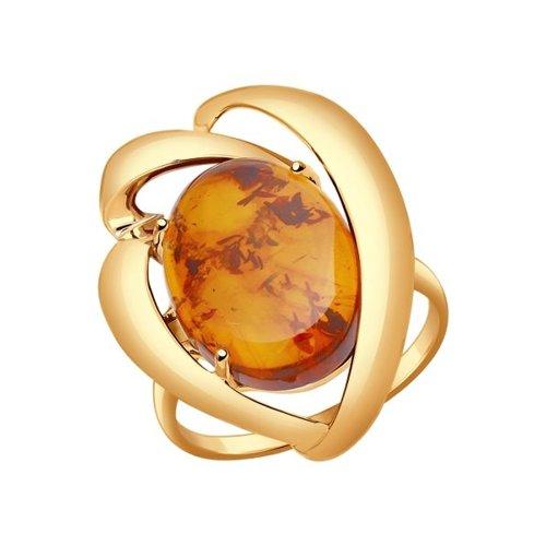 Кольцо из золота с янтарём (пресс.)