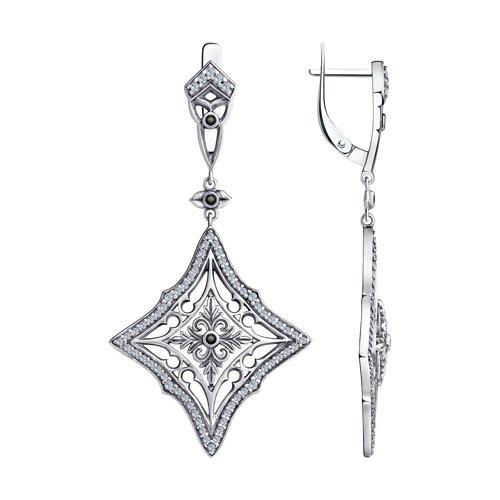 Серьги из серебра с фианитами 95020060