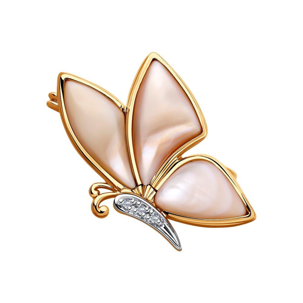 Брошь SOKOLOV из золота с бриллиантами и розовым перламутром фото