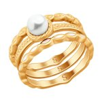 Кольцо из золочёного серебра с эмалью и жемчугом