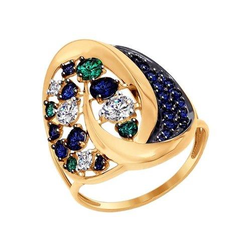 Кольцо SOKOLOV из золота с зелеными, синими и бесцветными фианитами подвеска sokolov из золота с зелеными синими и бесцветными фианитами