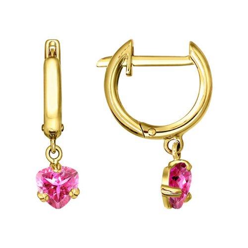 Серьги SOKOLOV из жёлтого золота с розовым фианитом