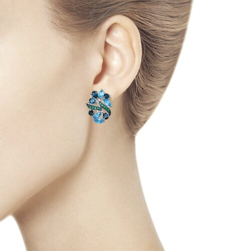 Серьги из серебра с голубыми и синими топазами и зелеными фианитами (92021550) - фото №3