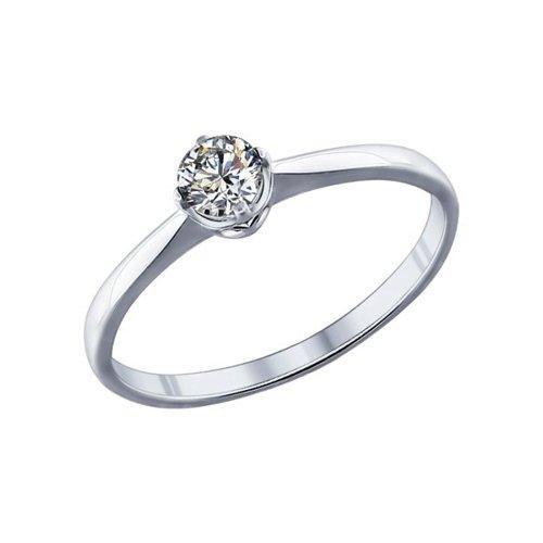 Помолвочное кольцо из серебра с фианитом (89010023) - фото