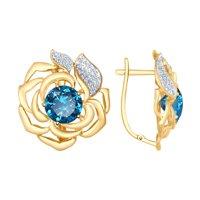 Серьги из золота с синими ситаллами и фианитами