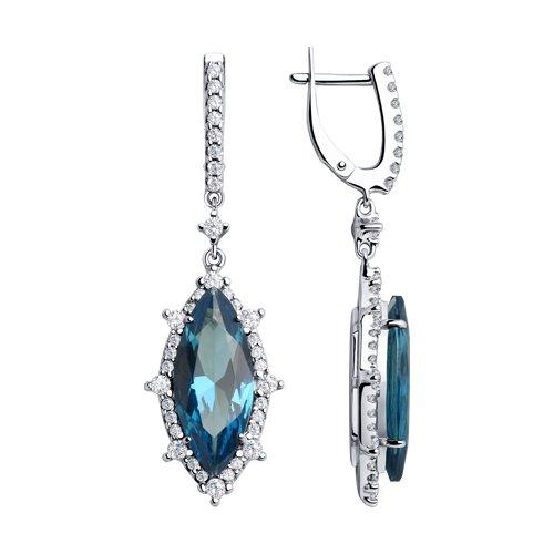 Серьги из серебра с синими ситаллами и фианитами (92021992) - фото