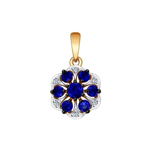 Подвеска из золота с бриллиантами и корундами сапфировыми (синт.)