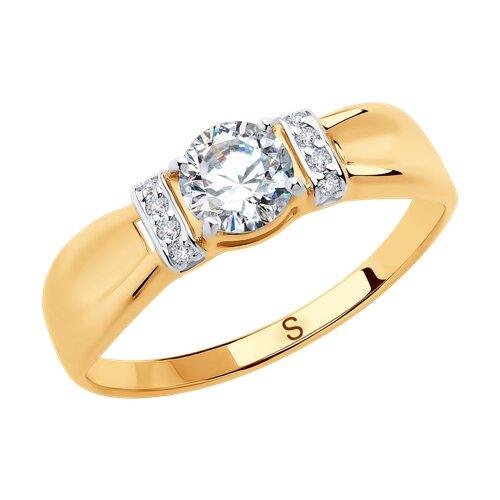 Кольцо из золота с фианитами (018269) - фото