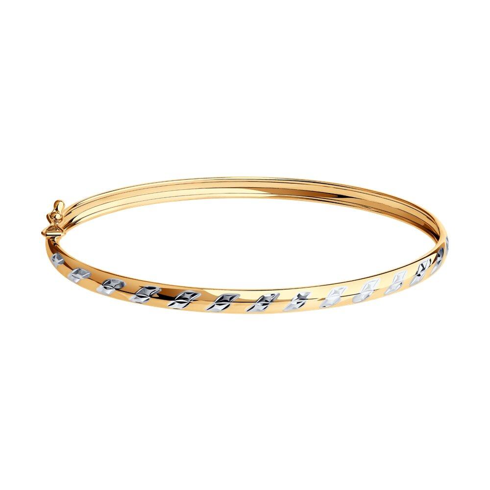 Браслет жёсткий SOKOLOV из золота с алмазной гранью