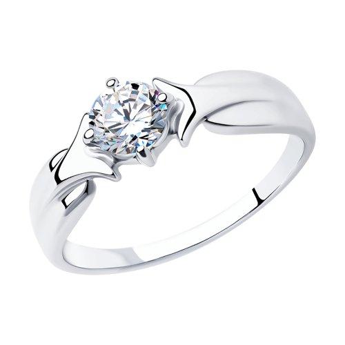 Кольцо из серебра с фианитом (94012626) - фото