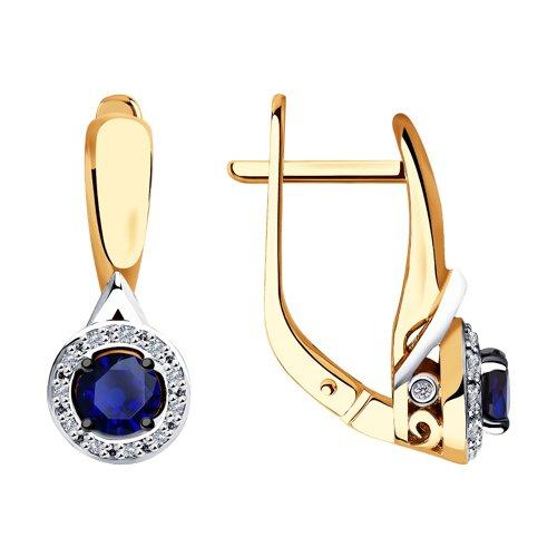 Серьги из золота с бриллиантами и синими корунд (синт.) (6022170) - фото