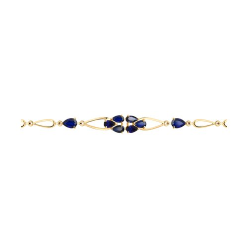 Браслет из золота с синими корунд (синт.) (750349) - фото