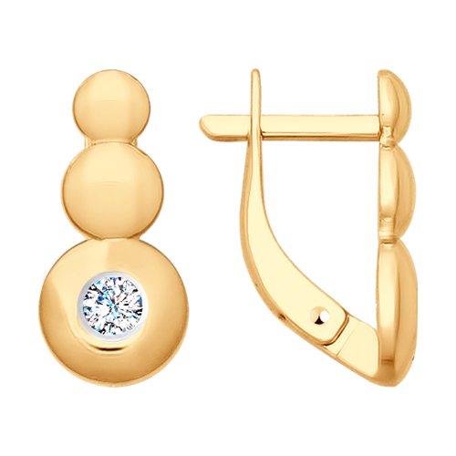 Серьги из золота с фианитами (027764-4) - фото