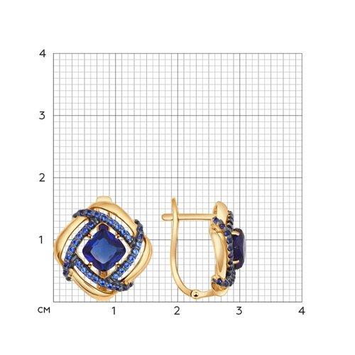 Серьги из золота с корундами сапфировыми (синт.) и фианитами (724438) - фото №2