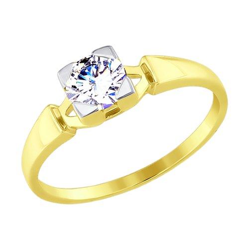 Кольцо из желтого золота с фианитом (017525-2) - фото