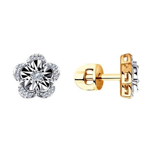 Серьги из комбинированного золота с бриллиантами 1021384 SOKOLOV фото