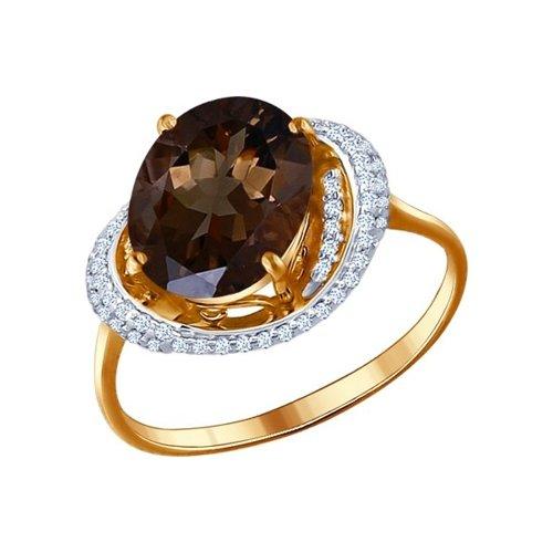 Кольцо из красного золота с крупным раухтопазом