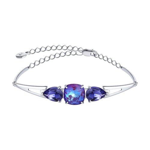 Браслет из серебра с голубыми кристаллами Swarovski (94050567) - фото
