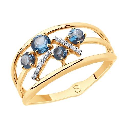 Кольцо из золота с синими топазами и фианитами (715700) - фото