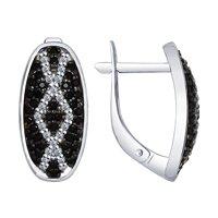 Серьги из серебра с бесцветными и чёрными фианитами