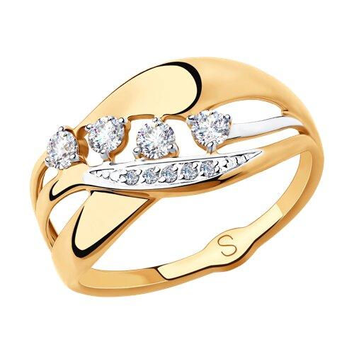 Кольцо из золота с фианитами (018251) - фото