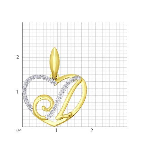 Подвеска из желтого золота с фианитами (034657-2) - фото №2