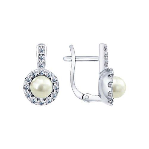 Серьги из серебра с жемчугом и фианитами (94021944) - фото
