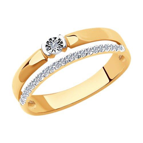 Кольцо из комбинированного золота с бриллиантами (1012013) - фото
