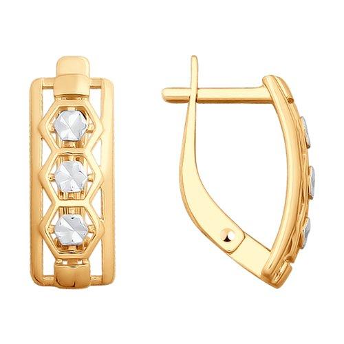 Серьги из золота с алмазной гранью (028019) - фото