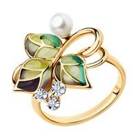 Кольцо из золота с эмалью и бриллиантами и жемчугом