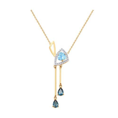 Колье из золота с голубым и синими топазами и фианитами (770161) - фото
