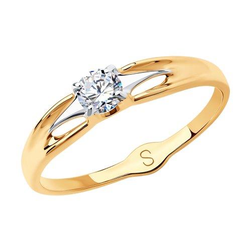 Кольцо из золота с фианитом (017992) - фото