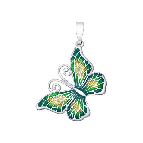 Подвеска бабочка из серебра с салатовой эмалью