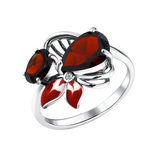 Кольцо из серебра с эмалью с гранатами и фианитом