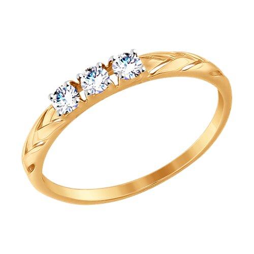 Кольцо из золота с фианитами (017516-4) - фото