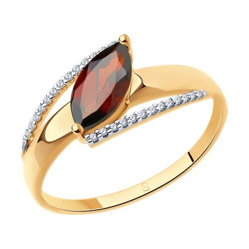 Кольцо из золота с гранатом и фианитами (715438) - фото