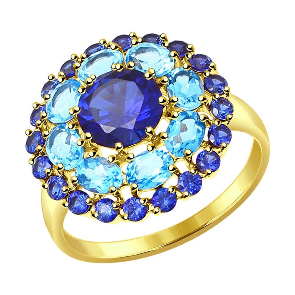 Фото - Кольцо SOKOLOV из желтого золота с топазами и синими корунд (синт.) кольцо sokolov из желтого золота с синими корунд синт синим опалом и зелеными и синими фианитами