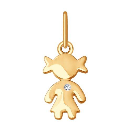 Подвеска из золота с бриллиантом «Девочка»