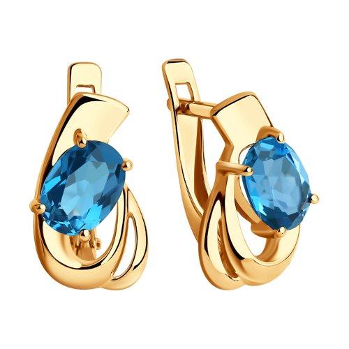 Серьги из золота с синими топазами (725589) - фото №2